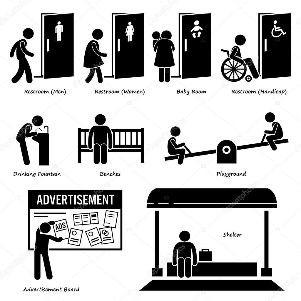 Openbare voorzieningen en faciliteiten zoals een toilet drinking fountain banken speeltuin - Toilet faciliteiten ...