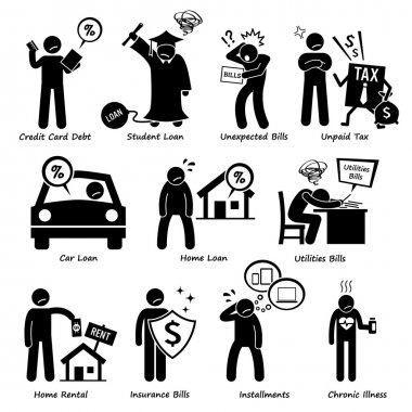 Personal Liabilities - Debt, Loan, Bills, Taxes, Rental, Installments, and Medical Payment of Stick Figure Pictogram Icons