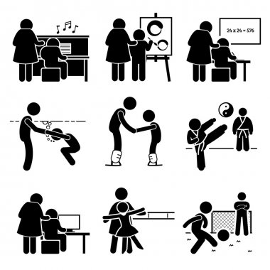 Student Learning Music, Art, Academic, Swimming, Martial Arts, Football, Computer, Dancing, and Ice Skating Lesson from Mentor Pictogram
