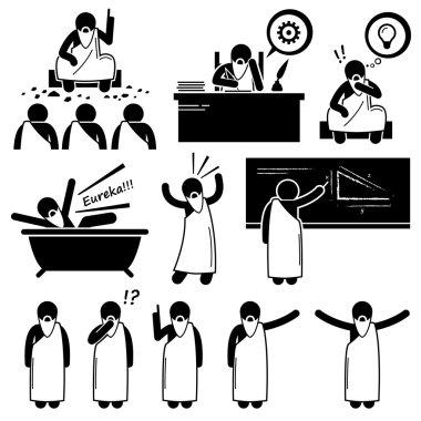 Ancient Greek Philosopher Scientist Old Man Stick Figure Pictogram Icons