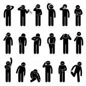 Mann kratzt Körper Strichmännchen Piktogramm Symbole