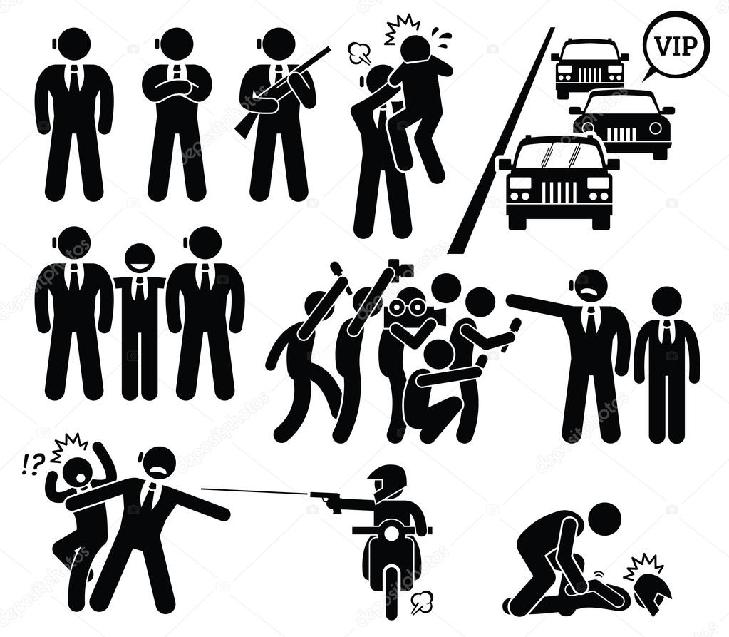 a set pictogram representing how a bodyguard protecting his boss or client by chasing away paparazzi and becoming a human shield by blocking a bullet shot