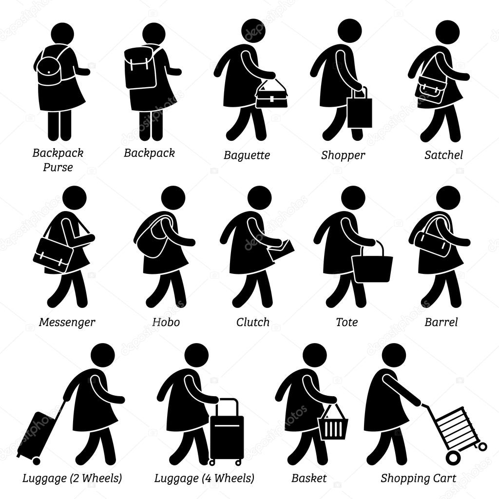 Type of Woman Female Bags Purse Wallet and Luggage Stick Figure Pictogram Icons