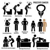 I sintomi del cancro della prostata causa fattori di rischio diagnosi figura stilizzata pittogramma icone