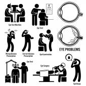Photo Eye Diagnosis Exam Surgery Optometrist Stick Figure Pictogram Icons