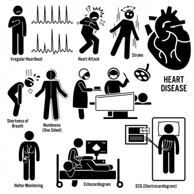 Set of illustrations for cardio vascular disease include the symptoms and the diagnosis for the illness. stock vector