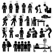 Děti nemocné nemoc nemocní onemocnění onemocnění chřipky problém zdravotní panáček piktogram ikony