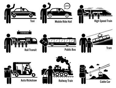 Land Public Transportation Vehicles and People Set