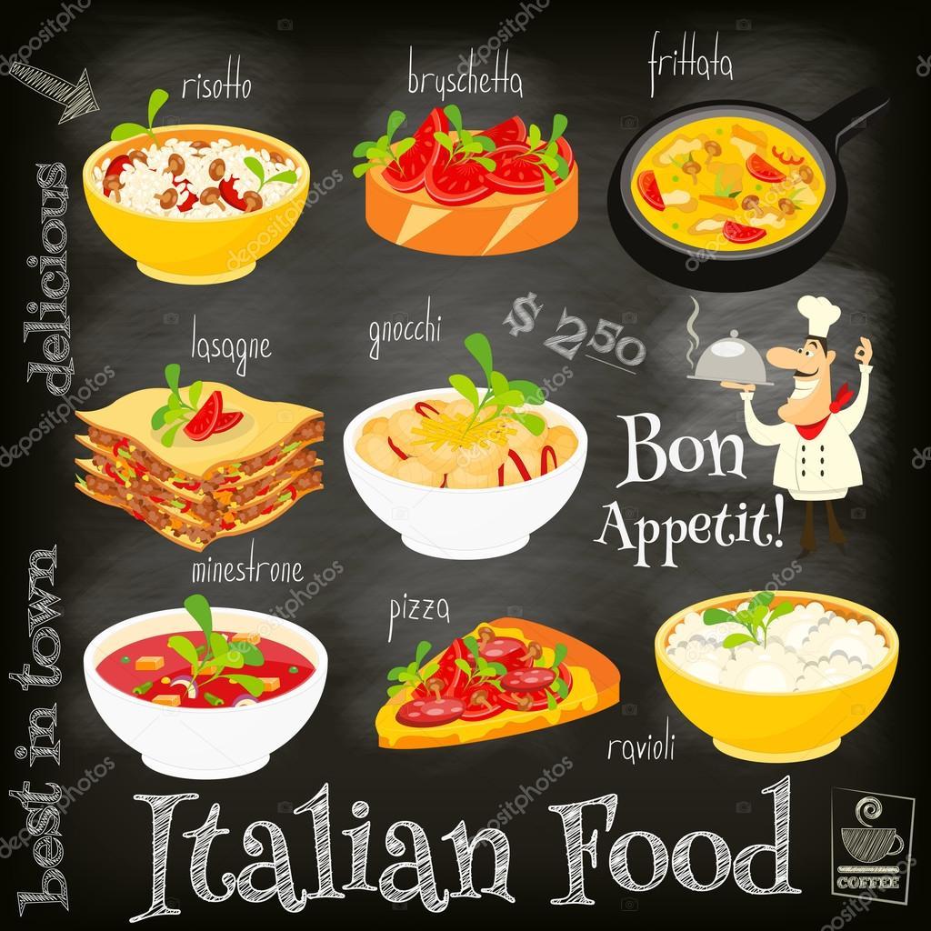italian food menu stock vector elfivetrov 102901712. Black Bedroom Furniture Sets. Home Design Ideas