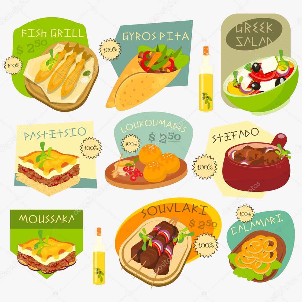 Griechische Küche-Etiketten-Set — Stockvektor © elfivetrov #103592430