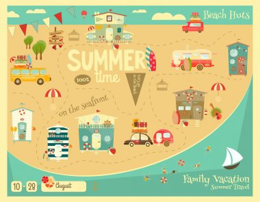 Summer Vacation Card. Beach Huts, Caravans, Cars on Summer Poster.