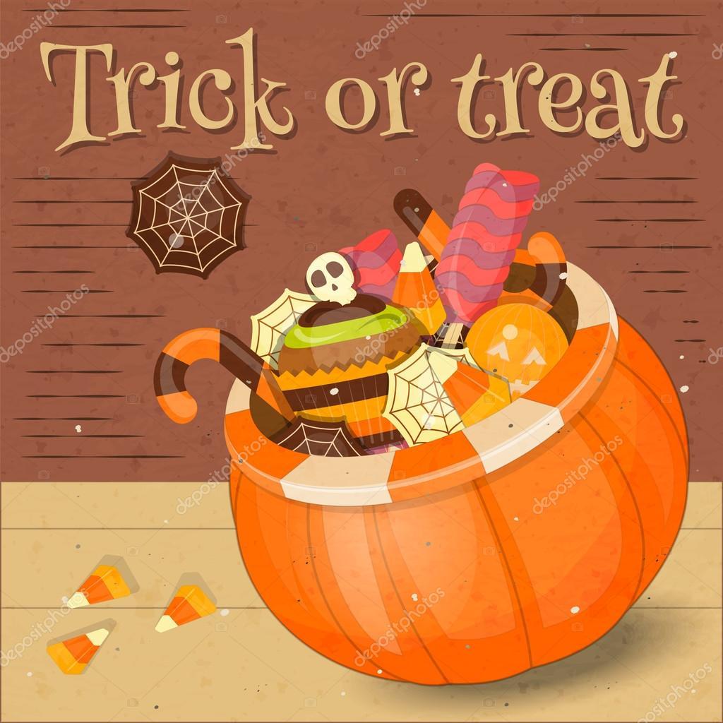 Jack-o-Laterne Candy Korb mit süßen — Stockvektor © elfivetrov ...