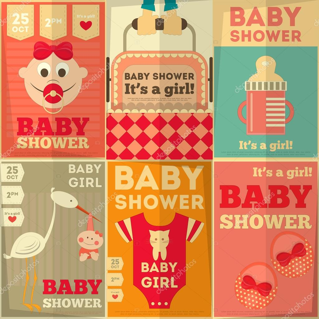 baby shower posters set its a girl vector illustration vector by elfivetrov