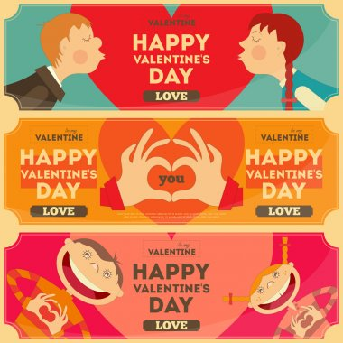 Valentines Day Posters Set in Cartoon Style. Horizontal format. Vector Illustration. clip art vector