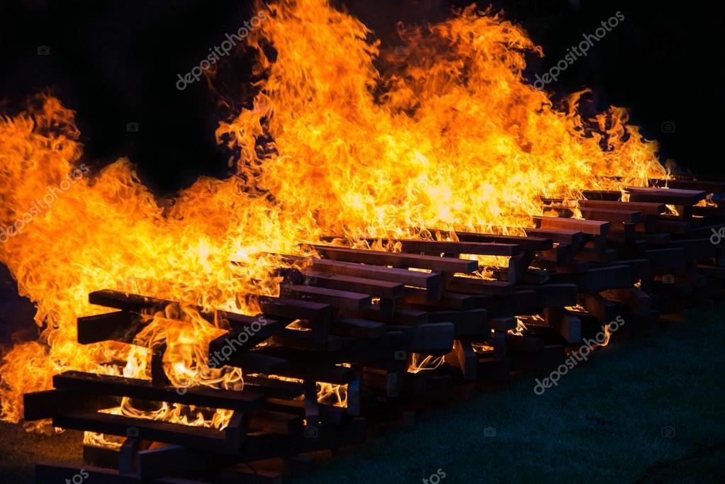 Camp fire burning wood