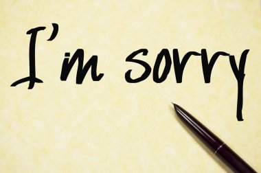 i am sorry text write on paper