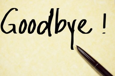goodbye word write on paper