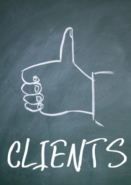 clients word and gesture sign on blackboard