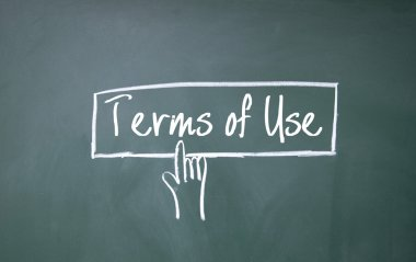 finger click terms of use symbol on blackboard