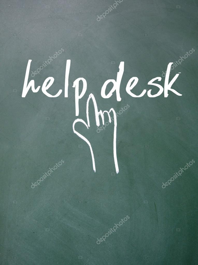Help Desk Text And Gesture Sign On Blackboard U2014 Stock Photo