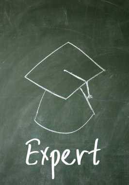 Expert word and Dr. cap sign on blackboard