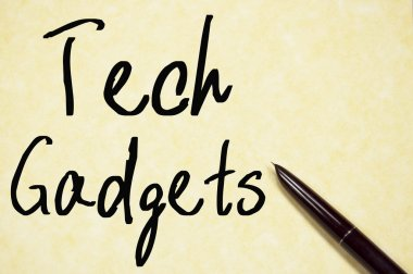 tech gadgets text write on paper