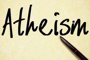 atheism word write on paper