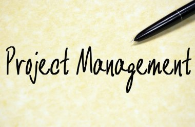 project management text write on paper