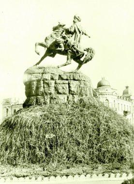 Old photo: The Bogdan Khmelnitsky Monument in Kiev, in the May 1964, Ukraine stock vector