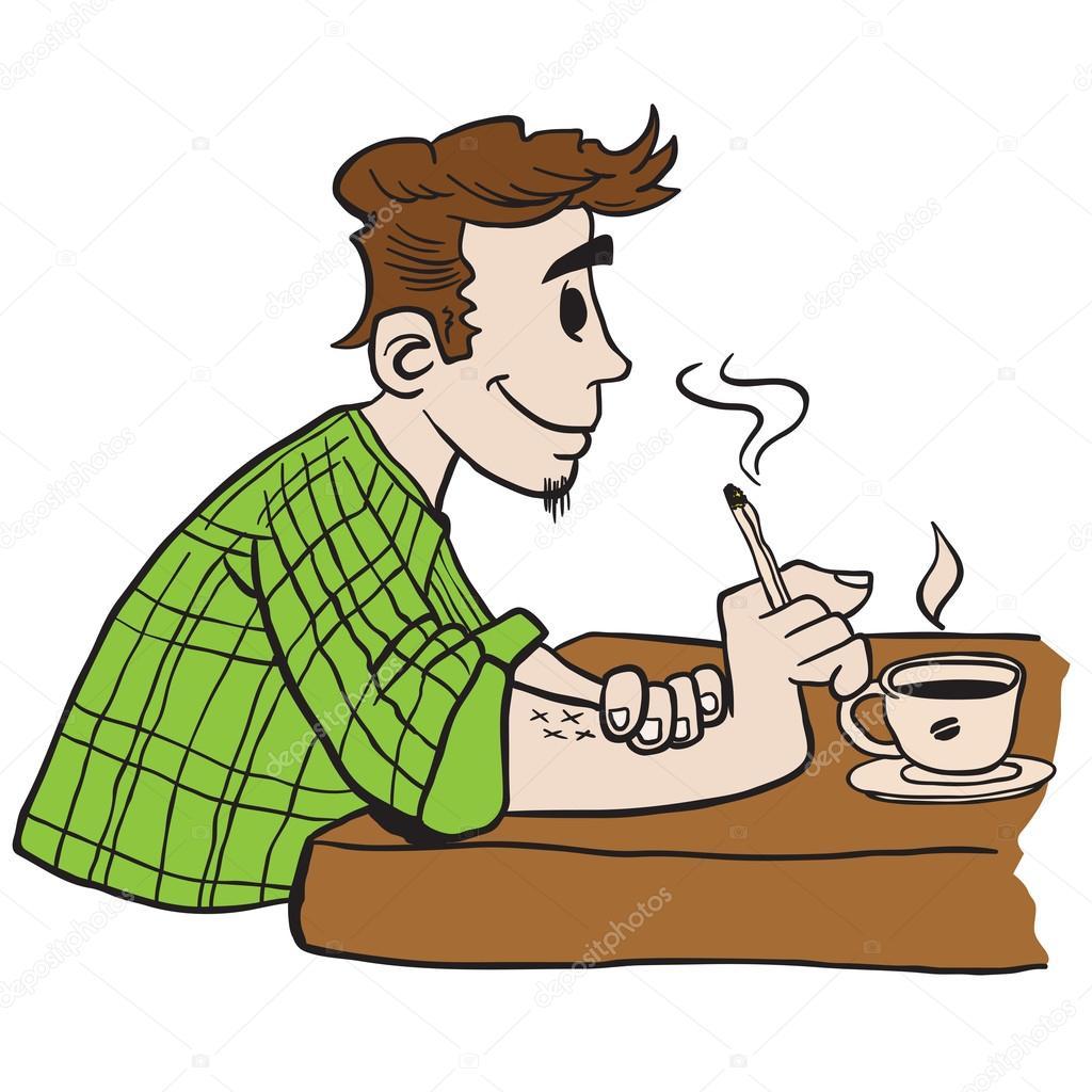 man smoking and drinking coffee cartoon illustration ...