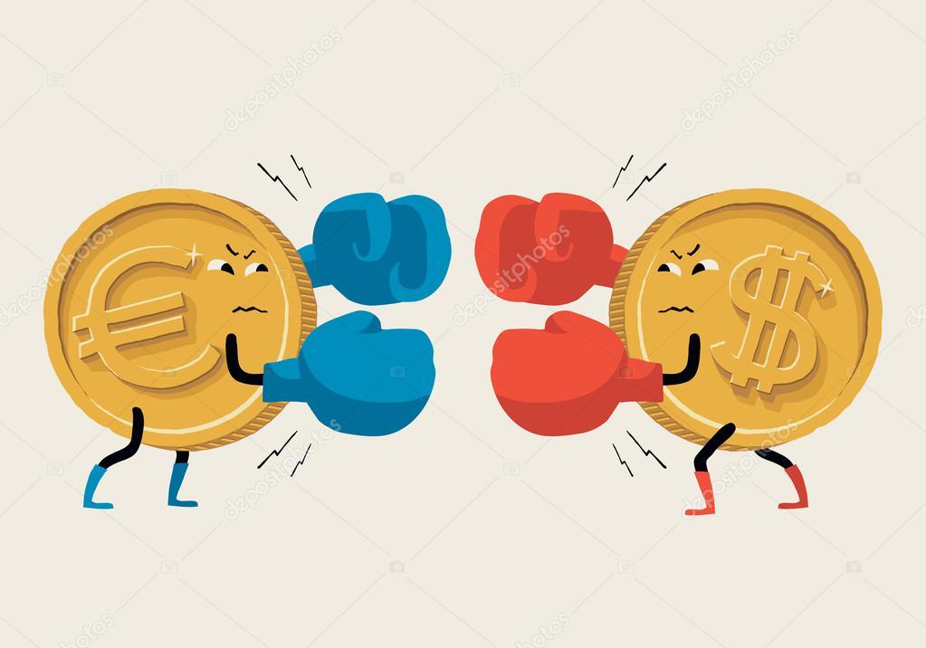 Boxeo Euro Vs Dólar. Ilustración De Vector Sobre Tipo De