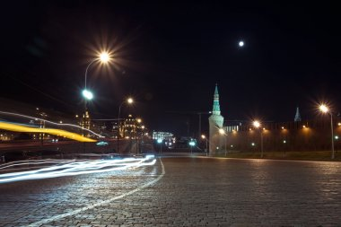 Night view of Area Vasilevsky descent near The Red Square, Moscow, Russia