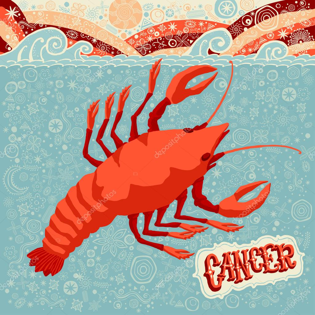 Astrological zodiac sign Cancer. Part of a set of horoscope signs. Vector illustration.