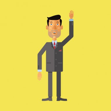 Smiling businessman greeting someone with his hand raised up. Vector illustration.