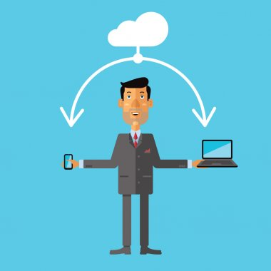 Businessman using cloud storage for smartphone and laptop. Vector illustration in flat design style.