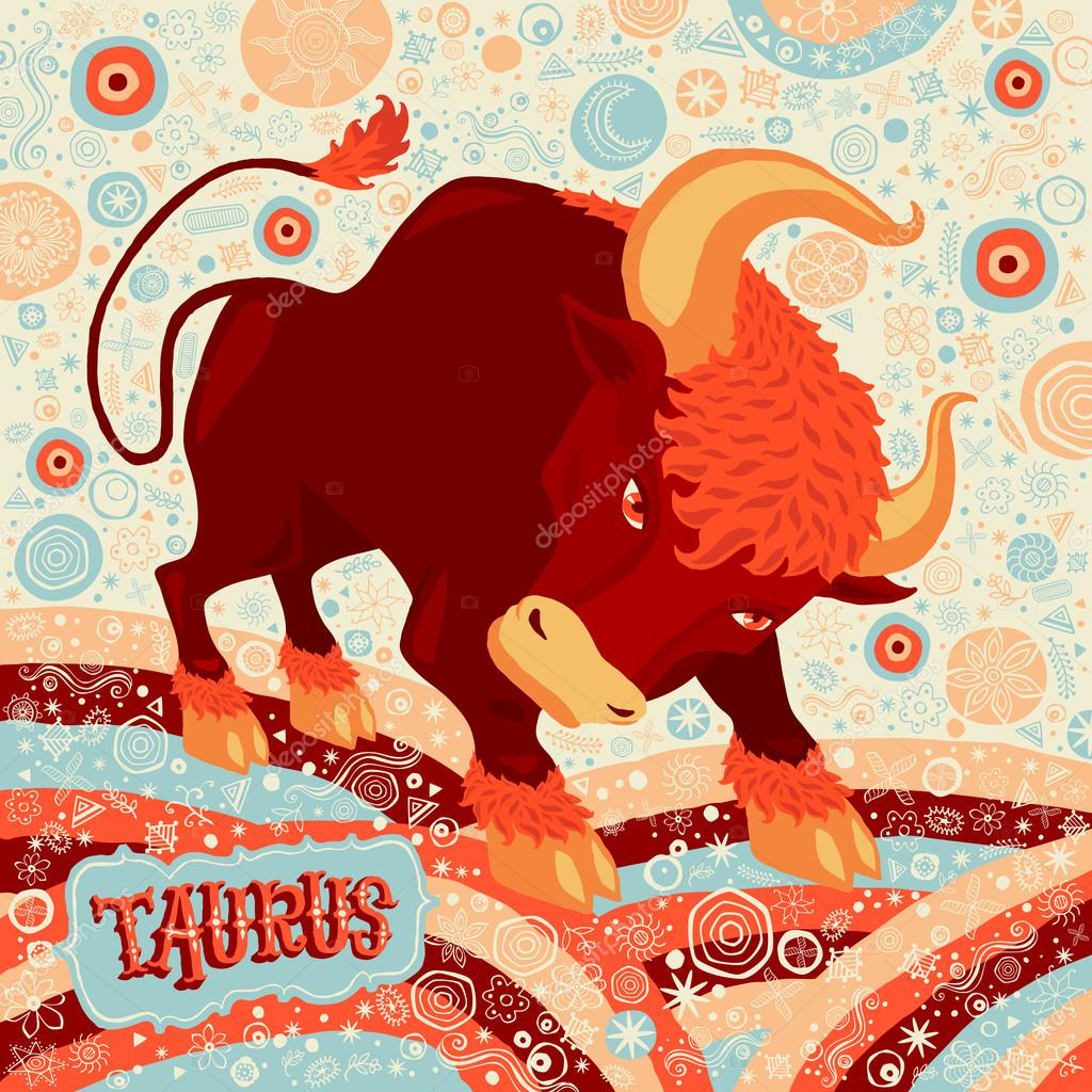 Astrological zodiac sign Taurus. Part of a set of horoscope signs. Vector illustration.