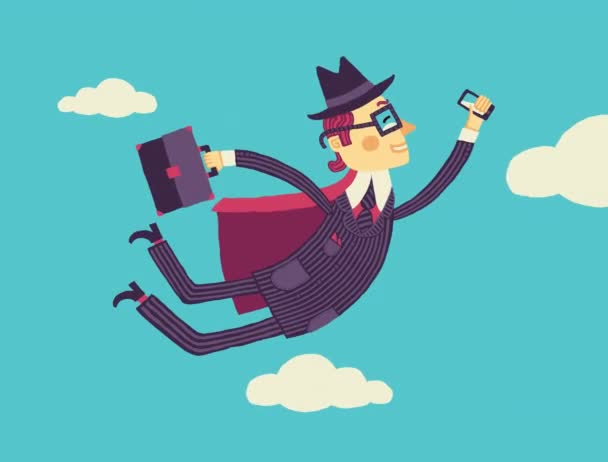 Businessman with a smartphone in hand flies through the cloud storage. 4k video clip.