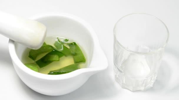 Squeezing Aloe vera juice