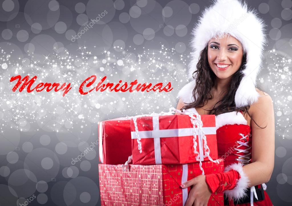 Sexy girl merry christmas