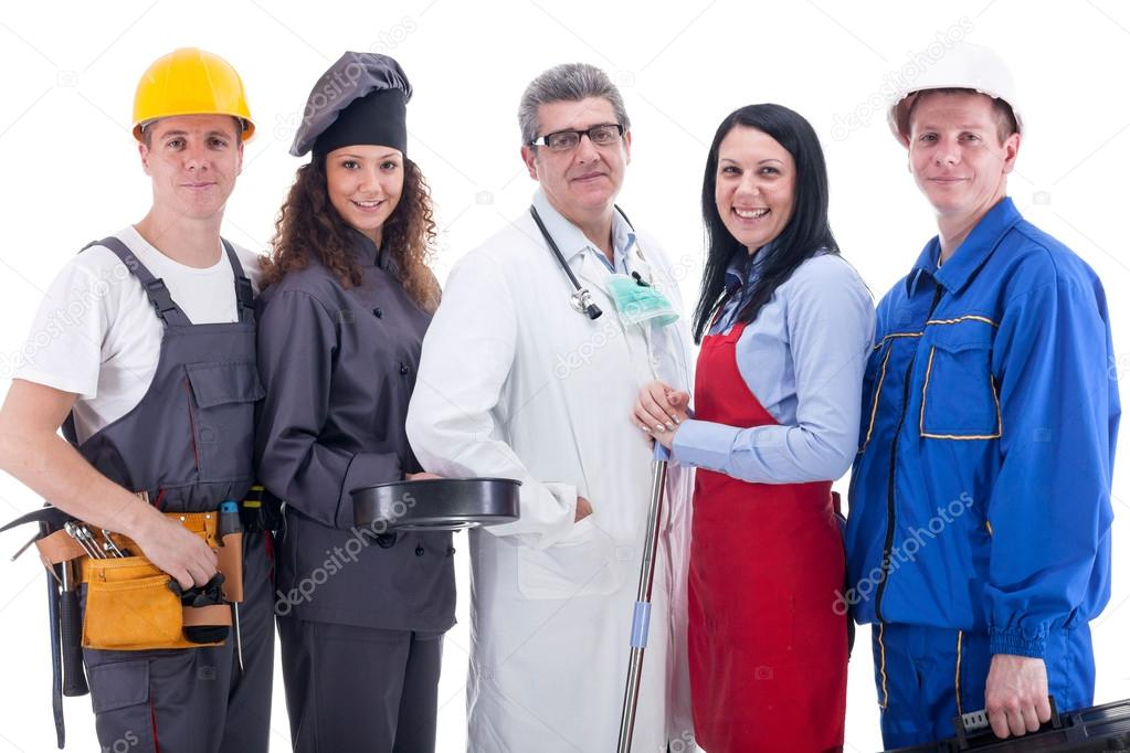 Group of industrial workers,physician,cook, mechanic and electrician stock vector