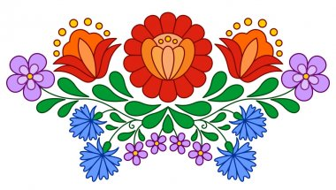 Traditional Hungarian folk embroidery pattern isolated on white stock vector