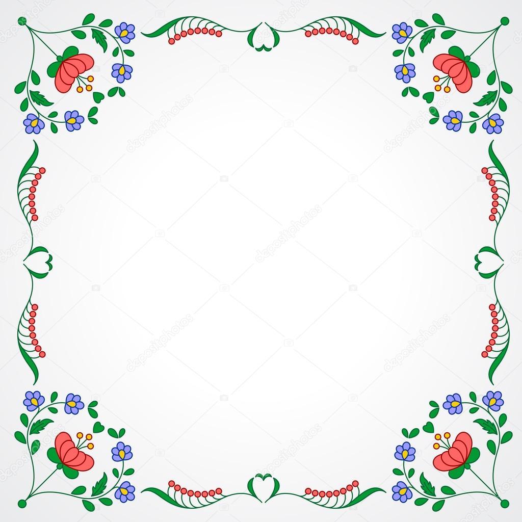 Bastidor de bordado Húngaro con decoración floral — Vector de stock ...