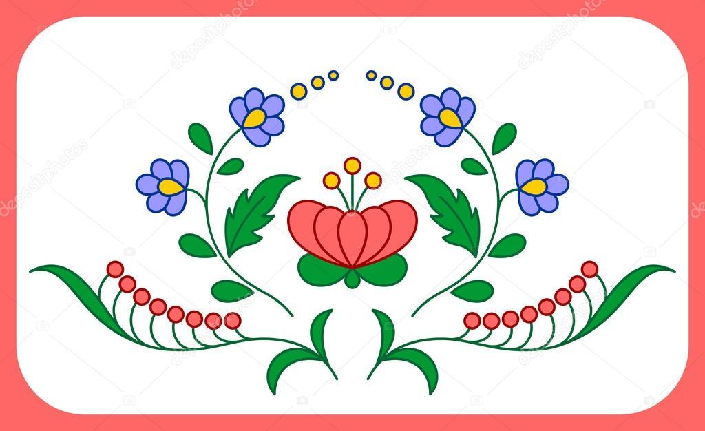 Decoración floral bordado Húngaro — Vector de stock © icefront #68122519