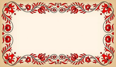 Vintage frame with traditional Hungarian floral motives