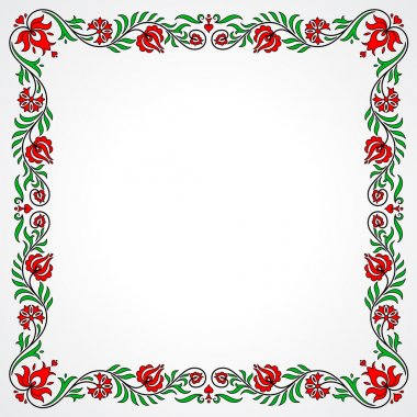 Empty frame with traditional Hungarian floral motives