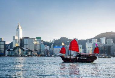 Beautiful view of traditional Chinese sailing ship, Hong Kong