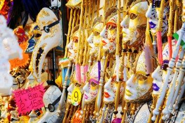 Venetian masks in shop on the Rialto Bridge. Venice, Italy