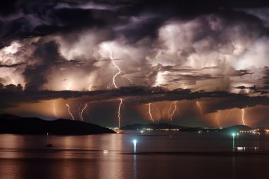 Dramatic stormy sky and lightning over Nha Trang Bay, Vietnam