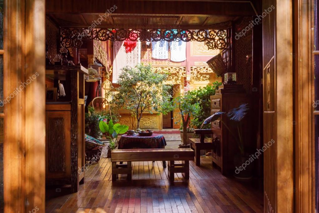 amazing cozy courtyard of traditional chinese wooden house stock