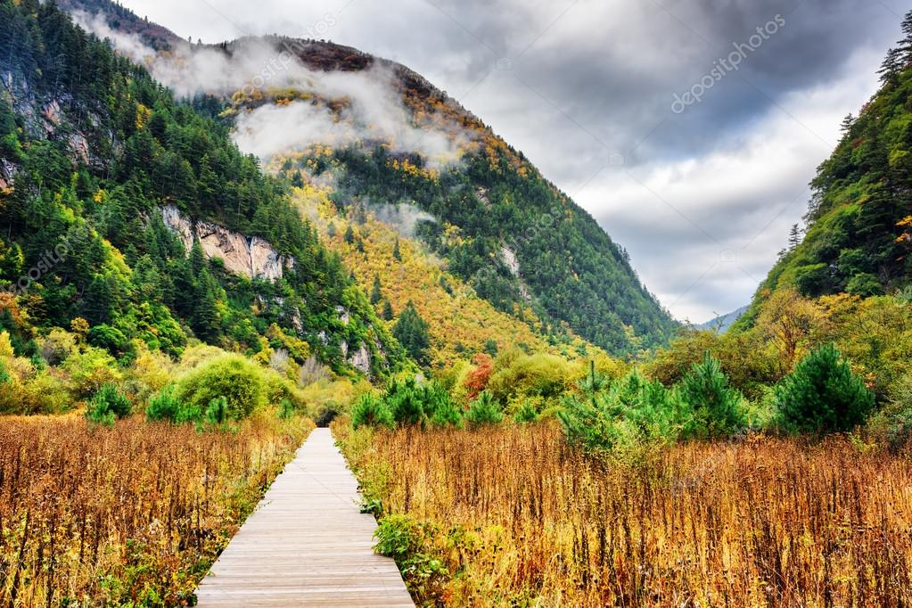 Фотообои Wooden boardwalk leading to mountains, Jiuzhaigou National Park